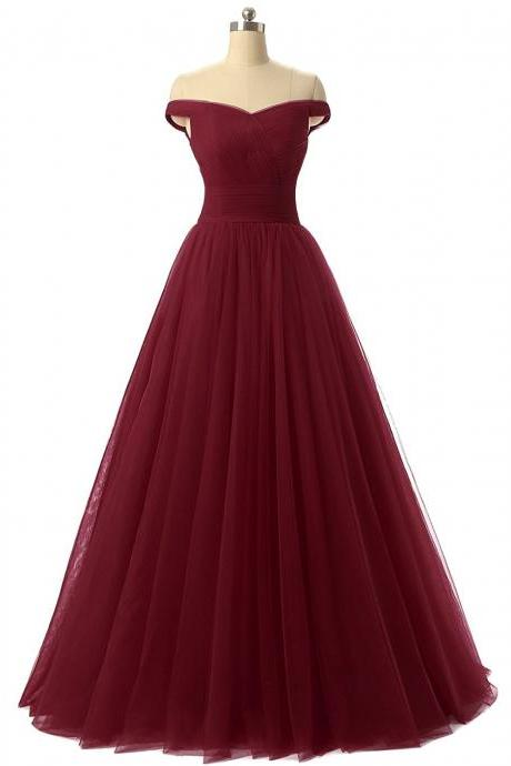 Sexy Off the Shoulder Prom Dress, Sweetheart Prom Dress,A-line Prom Dress,Tulle Prom Formal Evening Dress,Burgundy Prom Dresses, Red Prom Dress, Charming Prom Dress,Wedding Dress,