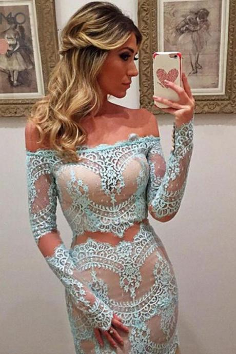 Delicate Off Shoulder Lace Prom Dress,Sheath Turquoise Lace Prom Dress, Long Sleeves Prom Dress, Lace Evening Dress,Women Dress,Custom Made Dress,Charming Evening Prom Dress,