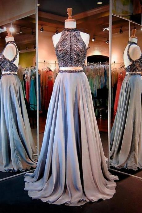 New Arrival Prom Dress,Beading Prom Dress,Backless Prom Dress,Open Back Two Pieces Long Prom Dress,A-Line Prom Dresses,Real Made Prom Dress,Senior Formal Dress,Charming Evening Dress,