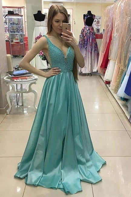 Senior Prom Dress,Sexy V Neck Beaded Long Prom Dress, Beading Prom Dress, Beautiful Evening Dress, Prom Dress for Teens,Green Evening Dress, A-line Long Prom Dresses,
