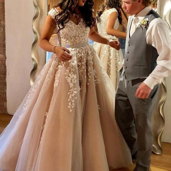 Charming Prom Dress,Modest Prom Dress,High Quality Prom Dress,A line Prom Gowns,Lace Appliques Prom Dress,Cap Sleeves Prom Wedding Dress,