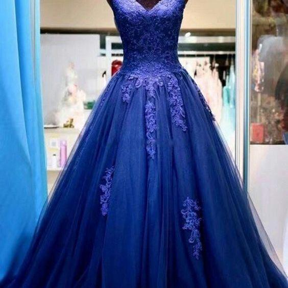 Beauty Lace Prom Dresses,Blue Prom Dresses,Tulle Prom Evening Dresses,Formal Party Dresses,Prom Dresses