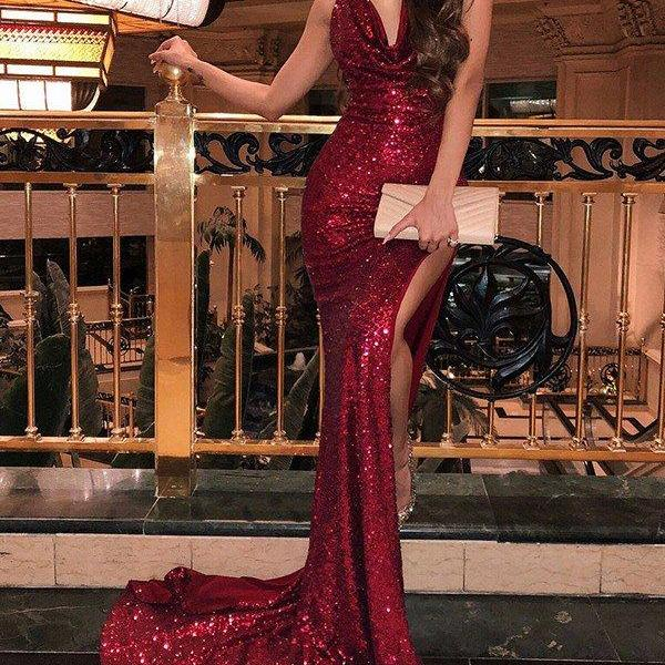 Burgundy Sequins Prom Evening Dresses,Gorgeous Mermaid Prom Dress,Long Prom Dresses,Sleeveless V-neck Sweep Train Prom Party Dresses,