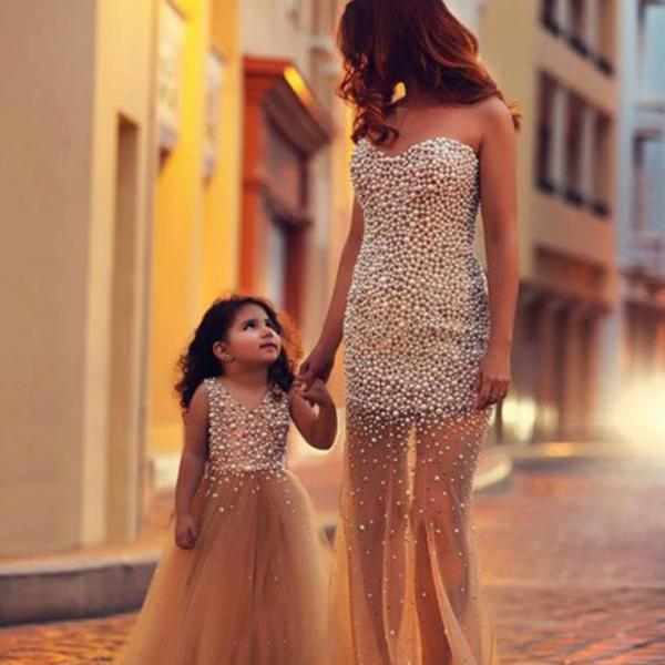 Custom Made Champagne Bridesmaids Dresses, Long Prom Dress, Formal Dresses, Dresses for Prom, Prom Dresses 2015
