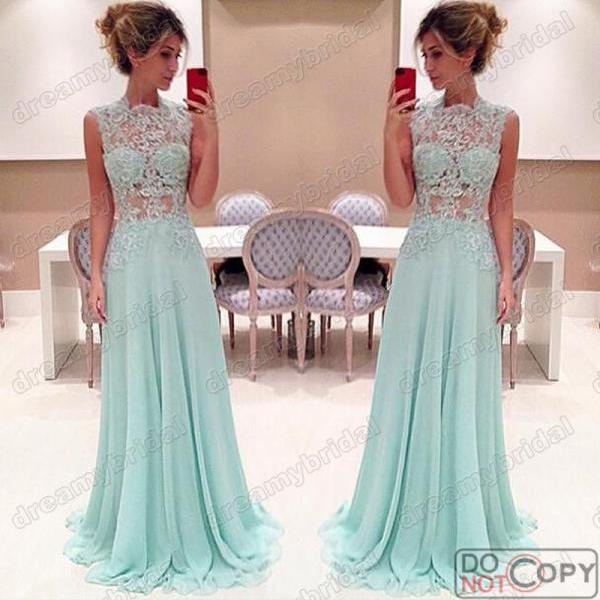 Beige Prom Dresses,Chiffon Lace Prom Dresses, Long Prom Dress, Formal Dresses, Dresses for Prom, 2015Prom Dresses