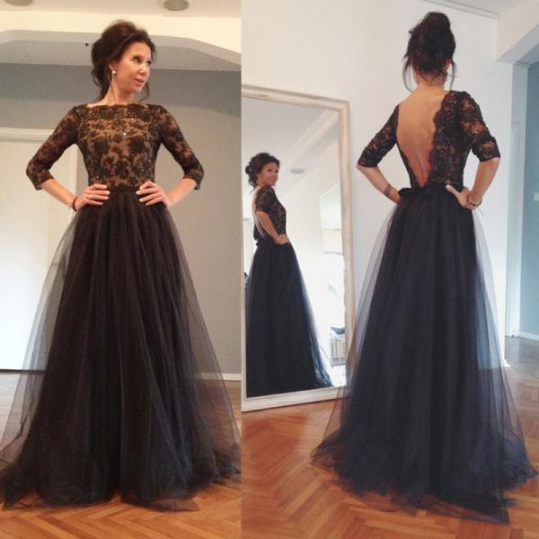 New Arrival Black Prom Dress With Appliques A Line Tulle Evening Dress,Beaded Long Sleeve Formal Party Dress