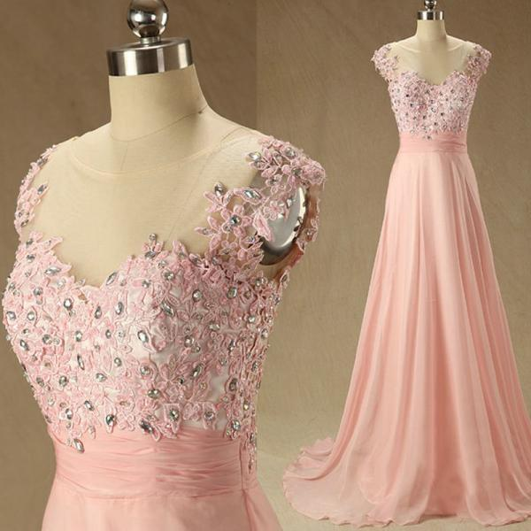 Custom Elegant Boat Neck Pink Chiffon And Lace A Line Long Prom Dress,Beaded Evening Prom Dress