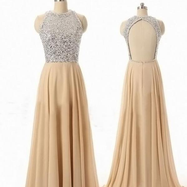 Custom Made Prom Dress, A Line Round Neck Backless Long Prom Dresses,Bead Sexy Long Evening Dresses,Praty Dress
