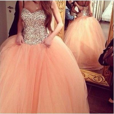 Beading Tulle Wedding Dresses, Ball Gown Long Prom Dresses, Sweetheart Sequined Top Formal Gowns, Strapless Lace Up Celebrity Dresses, Quinceanera Dresses, Gorgeous Women Dresses