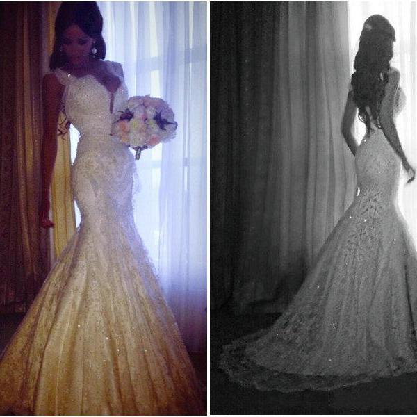Mermaid Bridal Gown,Tulle Prom Dresses,A-Line Floor-Length Evening Dresses, Charming Wedding Dresses,Wedding Dresses 2015, Charming White Lace Wedding Gowns,,
