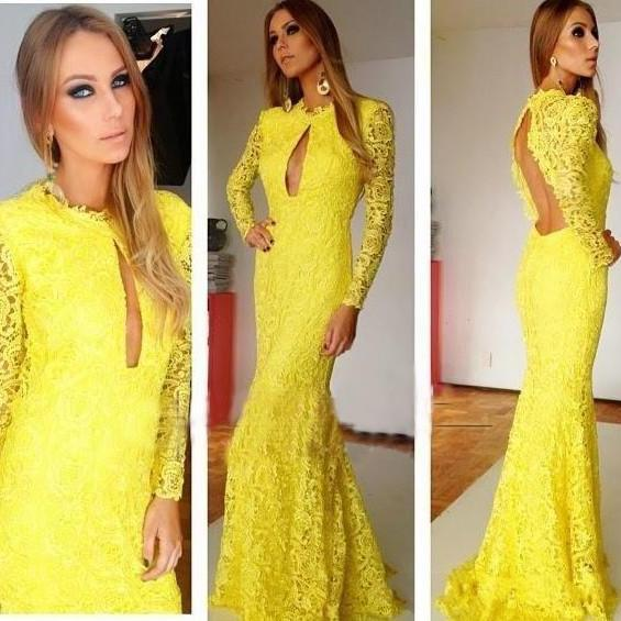 New Arrival Long Sleeve Floor-Length Charming Prom Dresses,A-Line Lace Floor-Length Evening Dresses,Full Sleeves Backless Prom Dresses 2015, Real Made Prom Dresses On Sale,