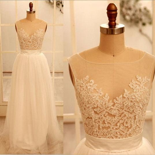 Custom Sexy Lace Backless Wedding Dress Wedding Gown With Beautiful White/Ivory Wedding Dress,A Line Round Necklace Wedding Gowns 2015,,Bridal Gowns For Weddings,The Elegant Evening Dress,Prom Dress