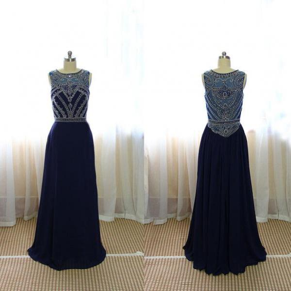 Custom Simple Graduation Dress,A Line Floor-Length Navy Blue Beading Prom Dress,Prom Dress 2015,Long Sequin Evening Dress,Party Dress For Formal,Dress For Prom,Special Occasion Dresses