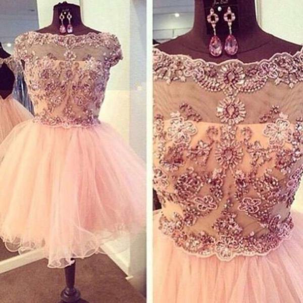 2016 High Quality Crystals And Appliques A Line Round Neck Short Graduation Dress,Charming Short Cocktail Dress/Homecoming Dress,Crystals Short Prom Dress