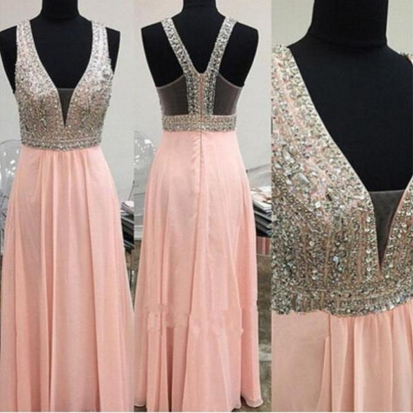 2016 Custom Made Sweetheart A Line V Neck Beading Chiffon Formal Party Dresses, Long Evening Dresses,Sweet Dress,Charming Prom Dresses,Party Dress/Cocktail Dress