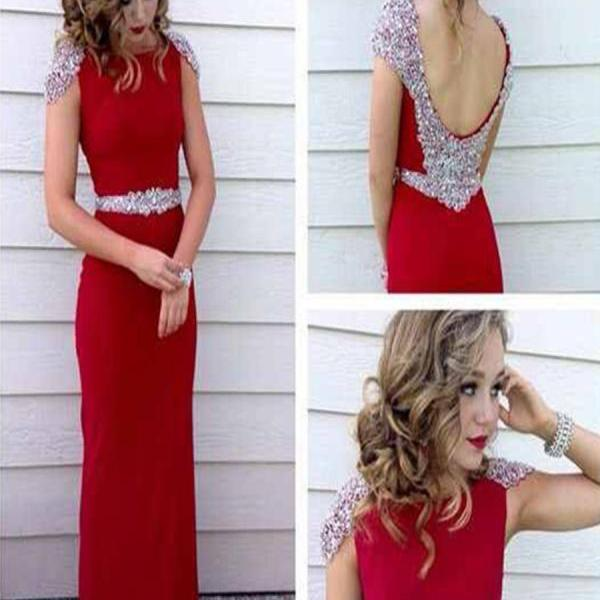 High Quality Charming A Line Round Neck Floor Length Red Beading Long Prom Dress,Backless Red Prom Gowns,Red Evening Dress 2015,Dress For Prom,Formal Dress For Party On Sale,