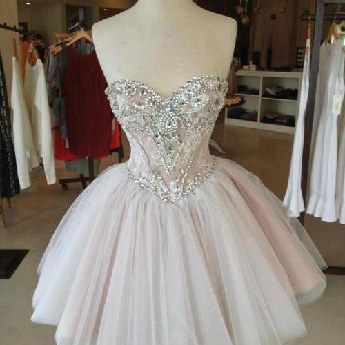 Sweetheart Neckline Short Prom Dresses With Beading,Short Homecoming Dress,Party Dress For Formal,Short Tulle Graduation Dress,Short Tulle Women Dress,