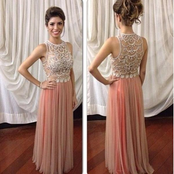 Custom Made A line Chiffon Prom Dress With Beading,Long Evening Dress,Dress For Prom,Dress 2015,Sexy Prom Gowns,Charming Party Dress/Graduation Dress