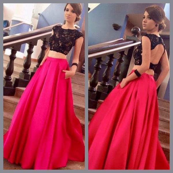 Two pieces Prom Dress,A-Line Prom Dress ,Beading Prom Dress,Women Dress,Satin Party Dress,Charming Evening Dress,New Style Evening Dress,Sexy Lace Prom Dress,