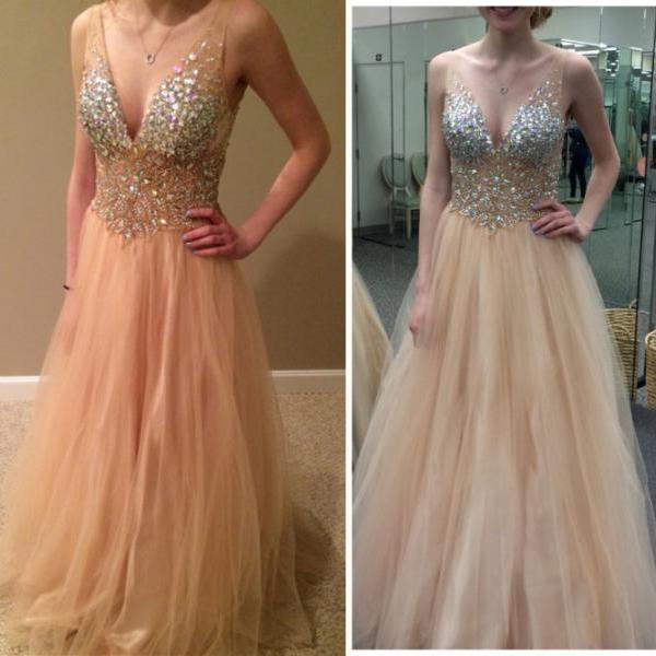 Sequined Prom Dress,A-Line Prom Dress ,Beading Prom Dress,Noble Women Dress,V-Neck Party Dress,Charming Evening Dress,Tulle Evening Dress,Sexy Prom Dress,