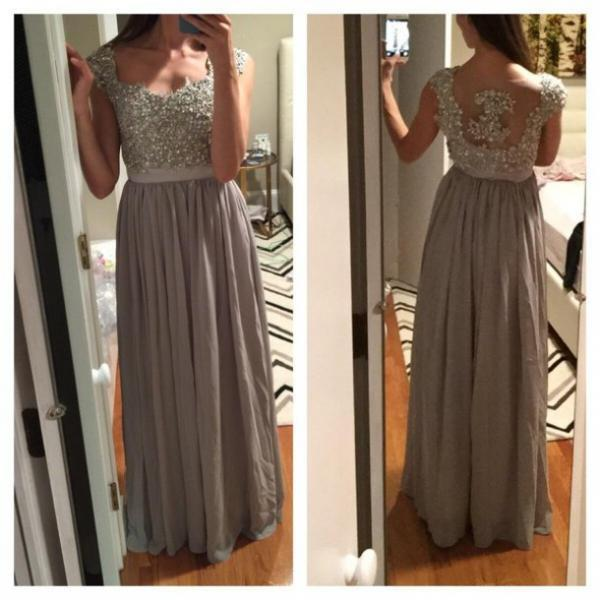 Hot Sale Beading Prom Dress,Charming Prom Gowns, A-Line Prom Dress ,Sexy Backless Prom Gows, Beading Evening Dress, Appliques Prom Dress,O-Neck Formal Dress,