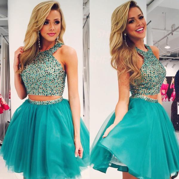 Two Piece Prom Dresses ,Hot Sale Homecoming Dresses,Charming Prom Dress,Two Pieces Homecoming Dresses,Beading Evening Dress,Cap Sleeves Homecoming Dresses,
