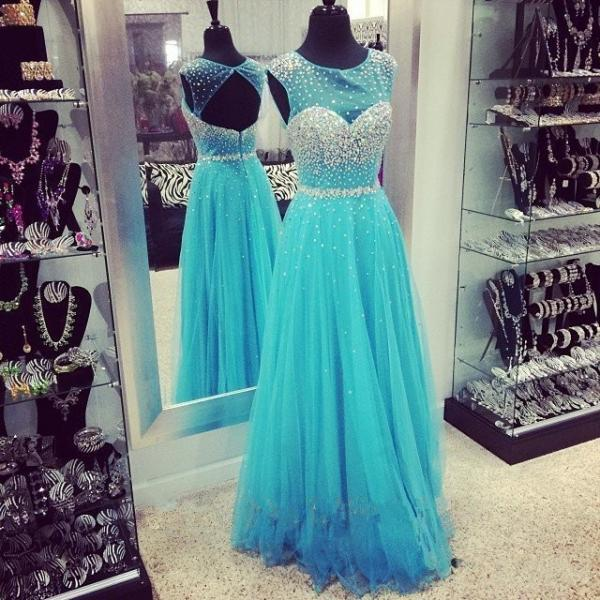 Hot Sale Prom Dress,Charming Prom Gowns, A-Line Prom Dress ,Appliques Prom Gows, Beading Evening Dress, Tulle Prom Dress,O-Neck Formal Dress,