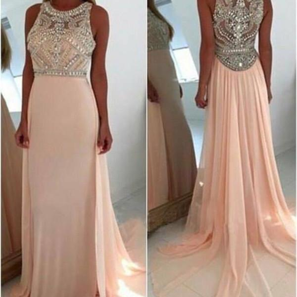 Pink Long Prom Dress,Charming Prom Dress,Pink Evening Dress,A-line Round Neck Light Pink Long Prom Dresses,Pink Long Prom Dress,Beading Evening Dress,Dress For Prom,Formal Dress 2016