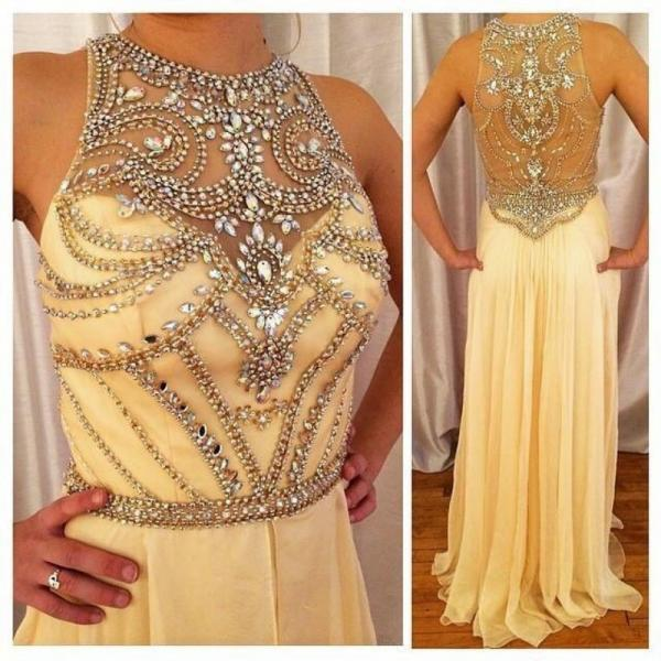 Hing Quality Custom Made Beading Chiffon Prom Dress, Long Prom Dress,Chiffon Evening Dress ,A Line Prom Dress,Yellow Prom Dress,Beading Graduation Dress,Dress For Prom,Formal Dress 2016