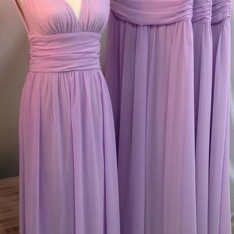 Custom Made Purple Chiffon A line Bridesmaid Dress,V-Neck Bridesmaid Dress,Charming Bridesmaid Dress,Noble Bridesmaid Dress,Long Bridesmaid Dress