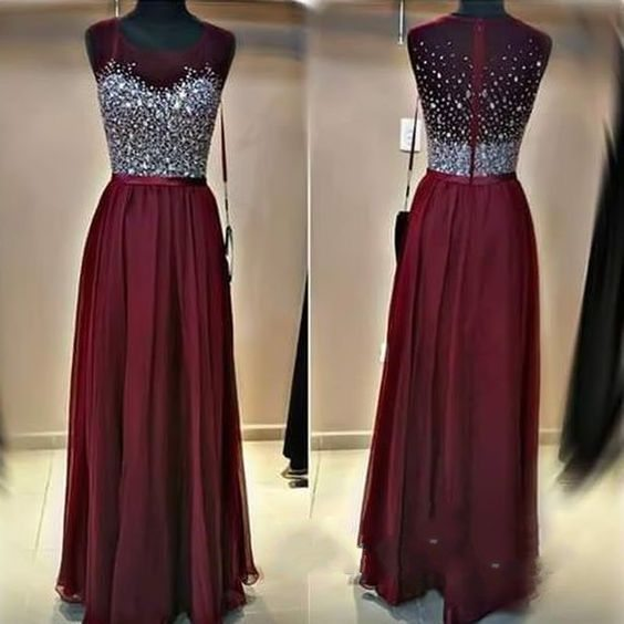 2016 Hot Sale Prom Dresses,Burgundy Prom Dresses,Sequins Prom Dresses,Chiffon Prom Dresses,Long Prom Dresses,A line Prom Dresses,Evening Dress,