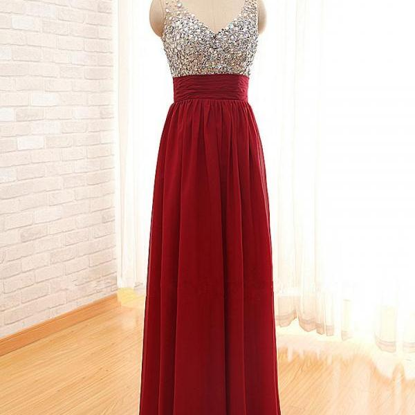 New Arrival Burgundy Evening Dress,A line Prom Dress,Sexy V neck Beading Prom Dress,Backless Prom Dress 2016,Long Prom Dress,Formal Prom Dress,Party Women Dress,