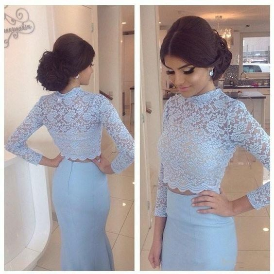 Blue Lace Two Pieces Evening Dress,Long Sleeve Two Pieces Prom Dresses,Mermaid Prom Dresses,Long Prom Dresses For Teens,Stain Floor Length Prom Dresses,Formal Party Women Dress,
