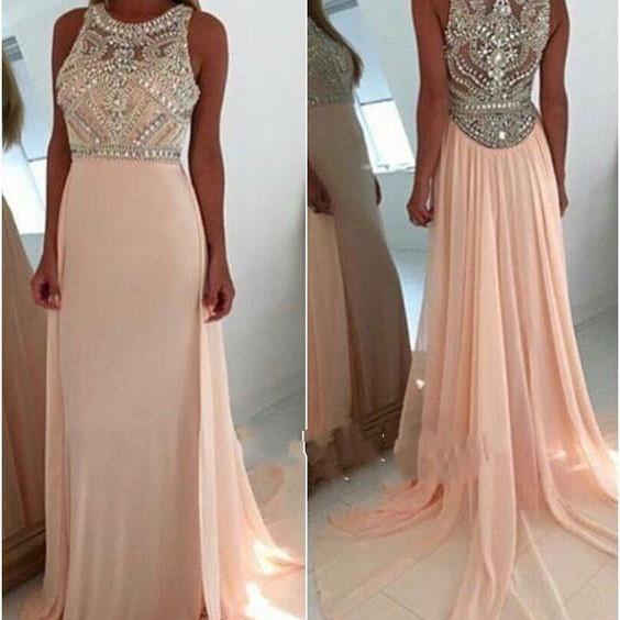 Pink Sequin Evening Dress,Charming Prom Dress,A-line Round Neck Prom Dress,2016 Prom Dress For Teens,Long Prom Dress,Pink Graduation Dress,Party Women Dress,Formal Prom Dress,