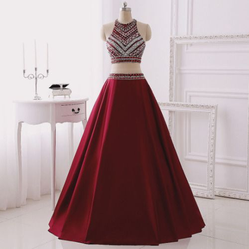 Real Made Two Pieces Prom Dresses,Burgundy Two Pieces Prom Dresses,Beading A line Prom Dresses,Two Pieces Floor-Length Evening Dresses,
