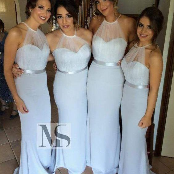 New Design Bridesmaid Dress,Mermaid Bridesmaid Bress,High Neck Halter Mermaid Bridesmaid Dresses Sheer Tulle Sash Maid of Honor Dresses