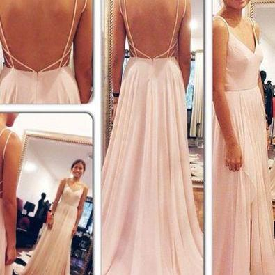 2016,Backless Prom Dresses ,Spaghetti Straps Prom Dresses ,Sexy Prom Gowns,V Neck Pink Open Back Evening Gowns,Chiffon Long Evening Dress,Bridesmaids Dress,Bridesmaids Dress 2016
