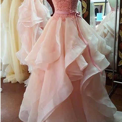 2016 New Fashion Ball Gown Prom Dress,Backless Prom Dress,Lace Prom Gowns,Pink Prom Dress,Evening Dress Prom Gowns,Organza Eveing Dress,Formal Weddings&Evening Prom Dress