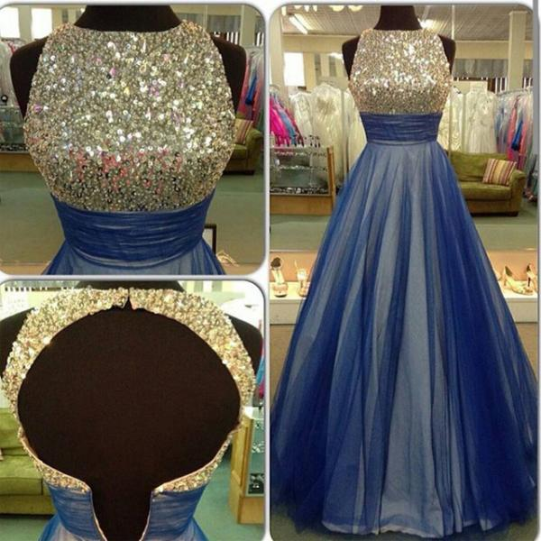 Gorgeous Blue Tulle Prom Dress,A-line Prom Dress,Open Back Prom Dress,O-neck Handmade Prom Dress,Prom Gowns,Long Party Dress,Prom Formal Dress,Women Dress,Custom Made Dress On Sale,High Quality Evening Dress