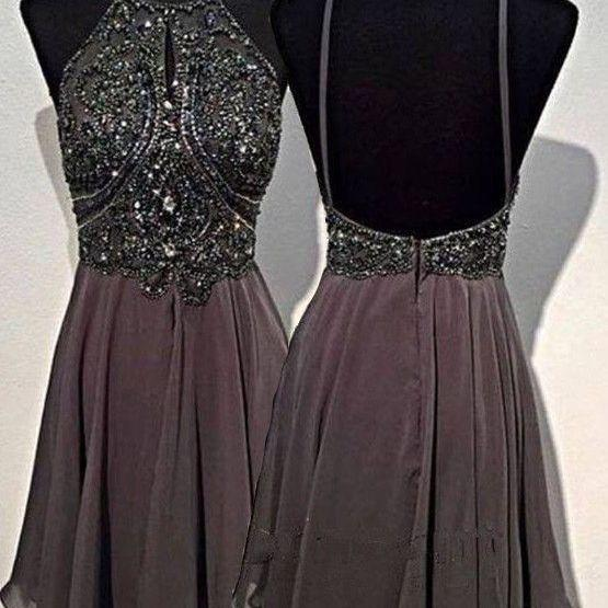 A Line Round Neck Homecoming Dresses,Short Grey Backless Prom Dress,Homecoming Dress, Graduation Dress,A-line Beaded Backless Short Prom Dresses, Party Dress,Formal Dresses