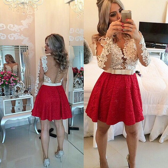 High Quality Short Homecoming Dress,Lace Short Hoemcoming Dress,Long Sleeves Homecoming Gowns,Open Back Prom Dress,Party Dress,Sweet 16 Dress,Formal Dress,Graduation Dress,Sexy Dress For Teens,