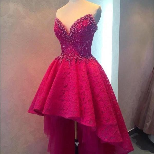 Beautiful Rosy Lace Sweetheart Beading High Low Dresses Formal Dresses,Sweetheart Dress For Teens,Party Dress,High Quality Prom Dress,Custom Made Women Dress