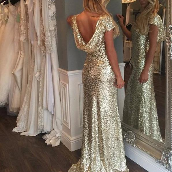 Luxurious Gold Sequins Cap Sleeves Long Prom Dress with Train, Glod Sequins Prom Dress,Bridesmaids Dress 2016,Sequins Bridesmaids Dress,Formal Dress For Prom,Women Dress,Wedding Party Dress,Custom Made Prom Evening Dress