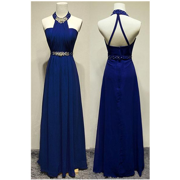Royal Blue Halter Beaded Long Prom Dresses,A-line Chiffon Evening Dresses,Party Prom Dresses,Prom Dress,Evening Gowns On Sale,Charming Prom Dress