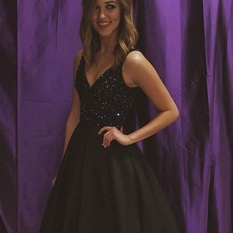 New Arrival Floor Length V-Neck Black Prom Dress with Rhinestone, Special occasions Dress,Formal Dress For Events,Dress For Prom,Prom Party Dress,Charming Prom Dress,Evening Gowns