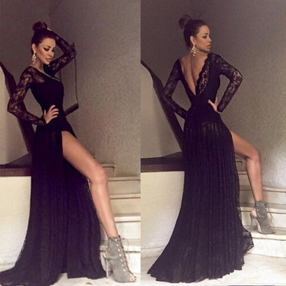 Side Split Prom Dress,Sexy Lace Prom Dress, V Back Long Prom Dress,Black Long Sleeves Prom Dress,Party Dress,Black Evening Dress,Women Dress,Modest Prom Events,Formal Dress For Prom
