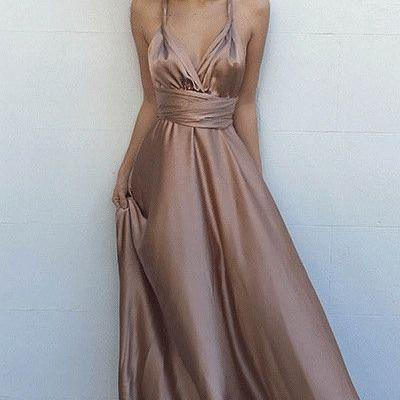 Simple V-Neck Sleeveless Floor Length Criss-Cross Straps Blush Prom Dress with Pleats ,Prom Dresses,2017 Prom Dresses, Prom Dresses ,Charming Prom Gowns,Sexy Prom Dress,