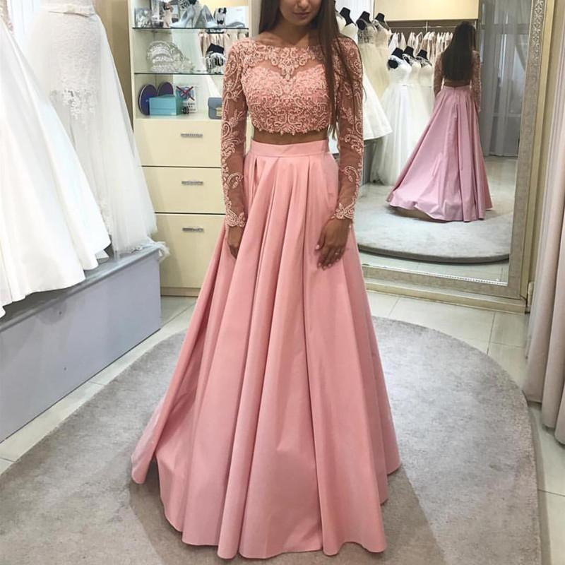 Long Sleeves Ball Gowns Prom Dresses Two Piece, Elegant Lace Prom ...